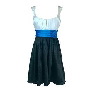 Satin Cocktail Dress A-Line Short White Blue Black